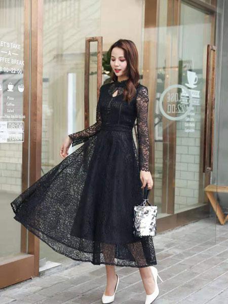 季歌女装品牌2019春夏蕾丝连衣裙长款长袖气质连衣长裙