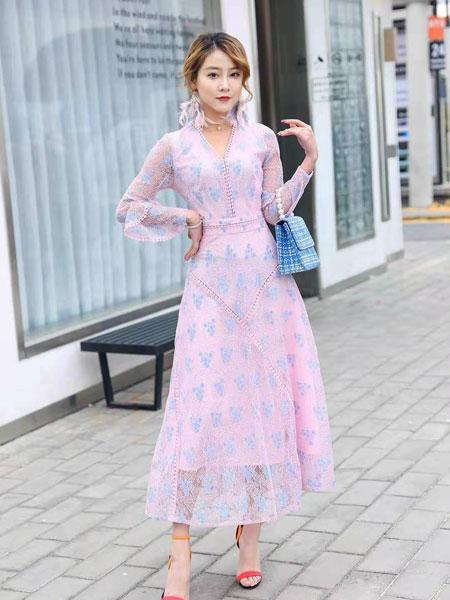 季歌女装品牌2019春夏韩版时尚修身碎花印花雪纺显瘦连衣裙