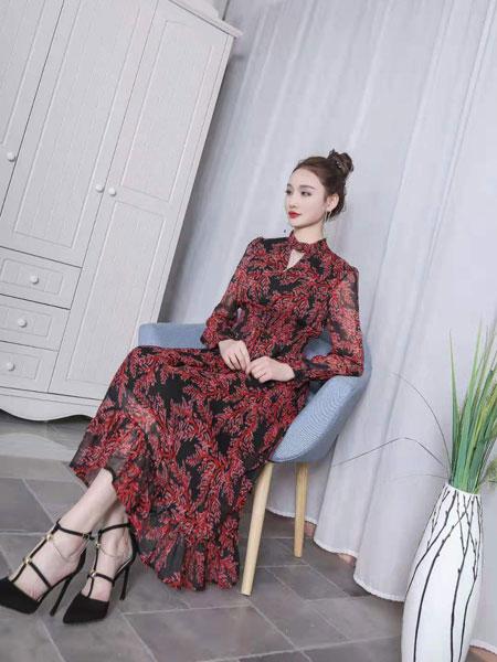 季歌女装品牌2019春夏优雅知性气质碎花雪纺修腰连衣裙