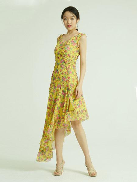 香莎女装品牌2019春夏印花雪纺绸中长连衣裙