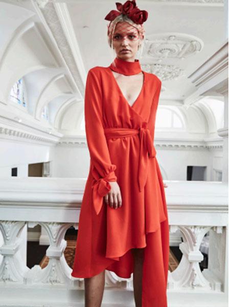 ELLIATT女装品牌2019春夏新款韩版气质收腰显瘦翻领长袖不规则大摆风衣式连衣裙