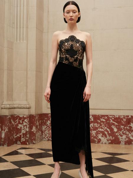 雷姆·阿克拉女装品牌2019春夏服抹胸黑色蕾丝缎面晚宴派对生日年会活动长裙