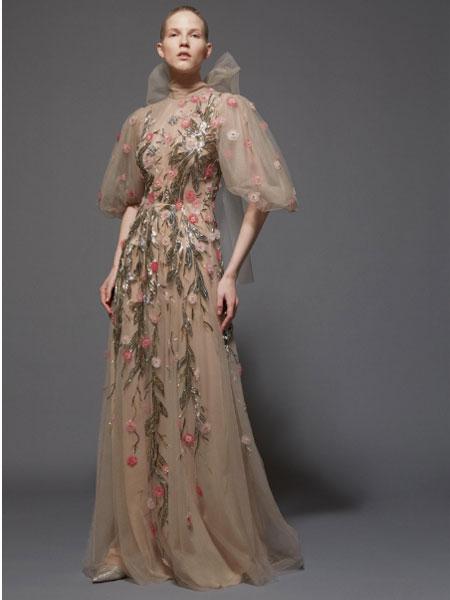 雷姆·阿克拉女装品牌2019春夏白色名媛气质丝绒连衣裙修身蝴蝶结中长裙