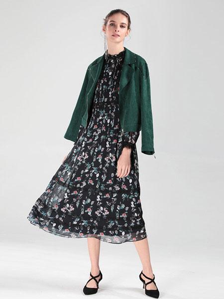 圣可尼女装品牌2019春夏新款法式复古气质印花裙子