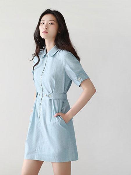 蔻贝卡女装品牌2019春季新款棉麻收腰连衣裙显瘦收腰连衣裙