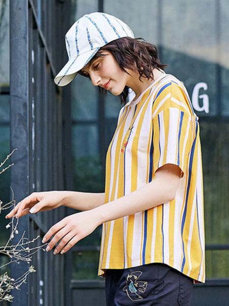 飞鸟和新酒女装品牌2019春夏新款针织条纹T恤圆领宽松