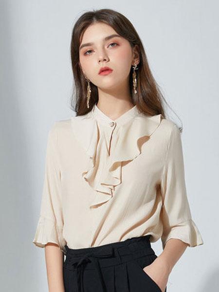 摩奥女装品牌2019春夏新款韩版立领气质时尚荷叶边纯色衬衫