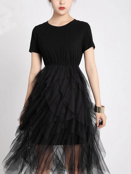 摩奥女装品牌2019春夏新款韩版圆领短袖拼接小仙女蓬蓬连衣裙