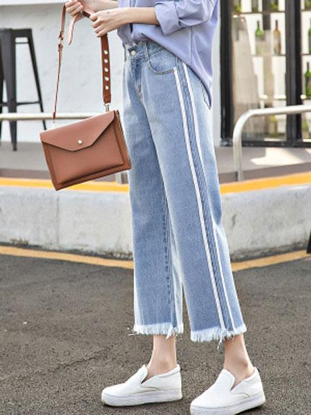 予含女装品牌2019春夏新款直筒牛仔裤女宽松bf风阔腿长裤子半松紧腰