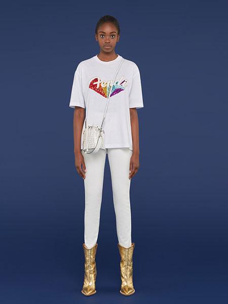 Fendi芬迪女装品牌2019春夏新款潮时尚字母短袖T恤