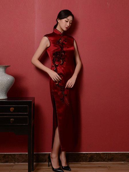 秦艺女装品牌2019春夏新款中国风改良式传统祺袍裙