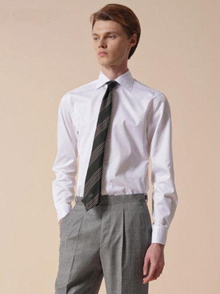 zingchen男装品牌2019春夏新款白色八字领修身正装商务休闲衬衣