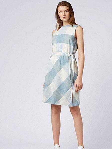 Boss Green博斯绿色女装品牌2019春夏新款格纹休闲无袖腰部抽绳连衣裙