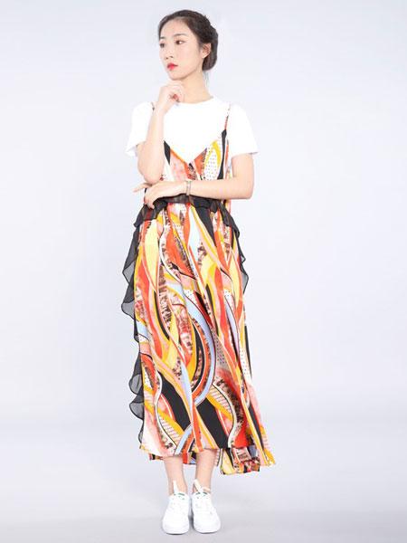 会尼女装品牌2019春夏上衣套装宽松碎花吊带长裤