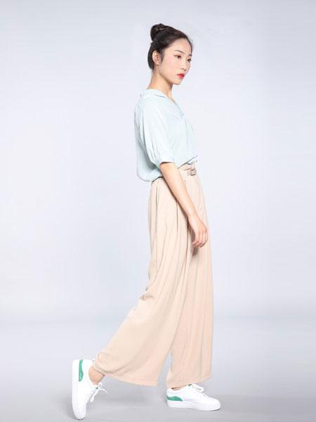 会尼女装品牌2019春夏宽松七分休闲裤棉麻松紧腰裙裤大码裤裙