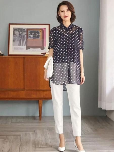 娜尔思女装品牌2019春夏新款洋气超仙宽松七分喇叭袖小衫