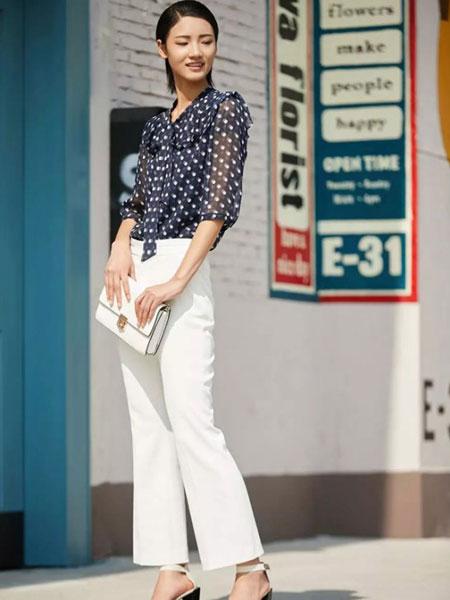 娜尔思女装品牌2019春夏新款韩版白色宽松直筒薄款高九分裤