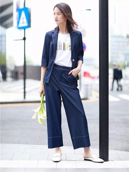 卡迪黛尔女装品牌2019春夏新款九分裤时尚潮气质阔腿裤