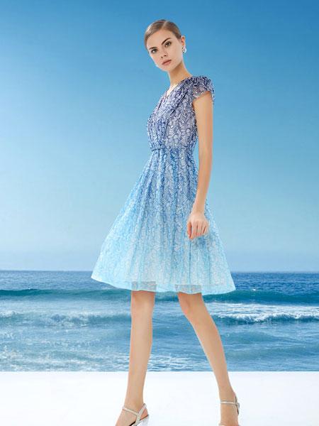 DU迪如女装品牌2019春夏新款优雅主持人小礼服甜美公主聚会