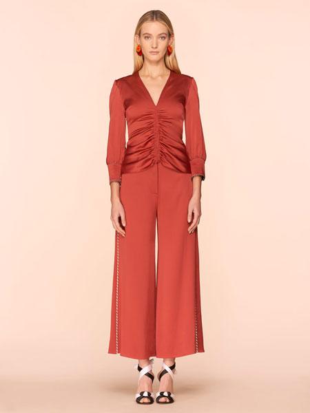 彼得·皮洛托女装品牌2019春夏新款红色宽腿裤女高腰显瘦休闲裤