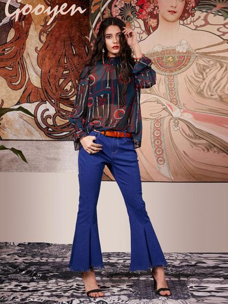 Gooyen古源女装品牌2019春夏新款时尚插袋下脚不对称流苏配腰带修身喇叭牛仔裤