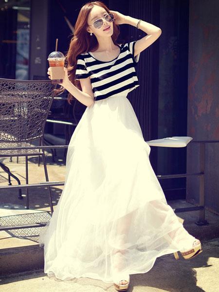 衣佳人女装品牌2019春夏新款气质复古港风不规则长裙韩版时尚百搭连衣裙