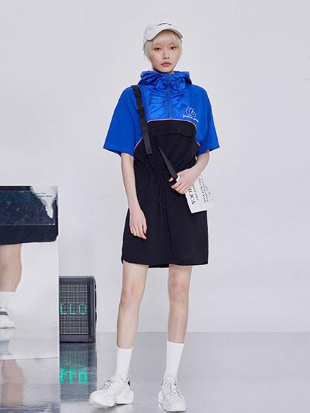 JASONWOOD 坚持我的休闲品牌2019春夏新款拼色连帽短袖连衣裙显瘦