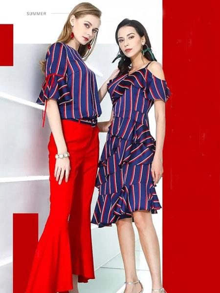 卓姿·乔雅女装品牌2019春夏新款条纹露肩中长款裙子宽松收腰显瘦不规则