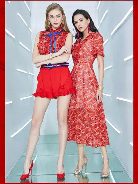 卓姿·乔雅女装品牌2019春夏新款复古印花优雅收腰气质中长款碎花连衣裙显瘦