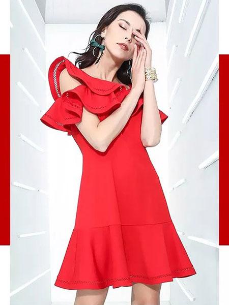 卓姿·乔雅女装品牌2019春夏时尚宴会气场女王气质短款小个子连衣裙酒红色敬酒服