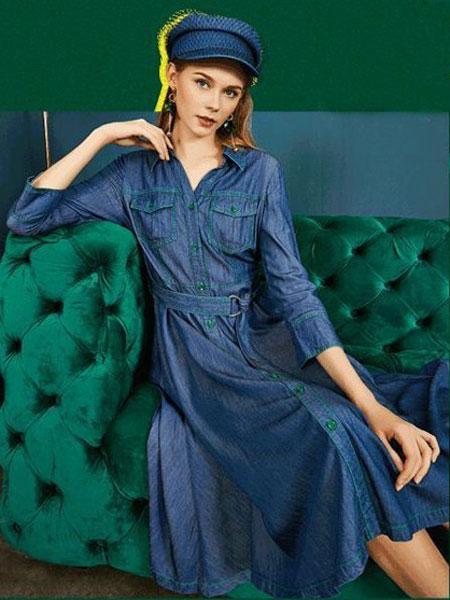 卓姿·乔雅女装品牌2019春夏新款舒适修身纯色气质韩版长袖连衣裙