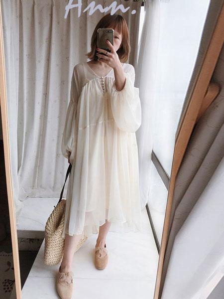 as安都女装品牌2019春夏新款chic度假风宽松灯笼袖仙女裙中长款雪纺小个子连衣裙