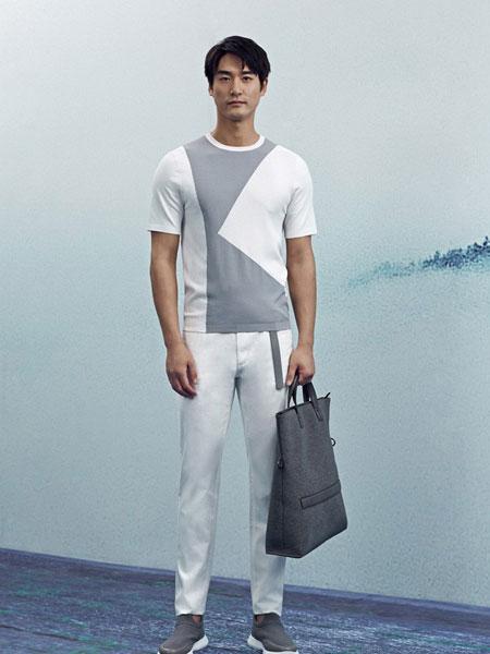 卡尔丹顿男装品牌2019春夏新款圆领半袖体恤韩版修身潮流印花上衣