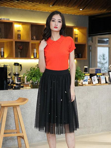 延美女装品牌2019春夏新款学生韩版短袖上衣高腰网纱裙两件套