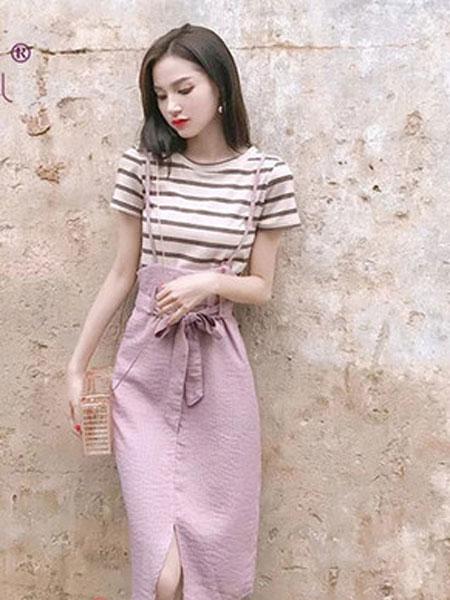 延美女装品牌2019春夏新款韩版女神范收腰洋气时尚吊带裙条纹两件套裙