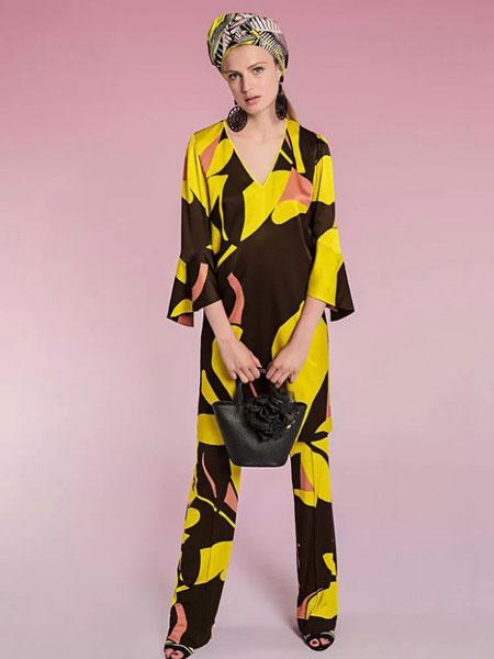 玛可凯恩 marc cain女装品牌2019春夏新款弹力喇叭裤子