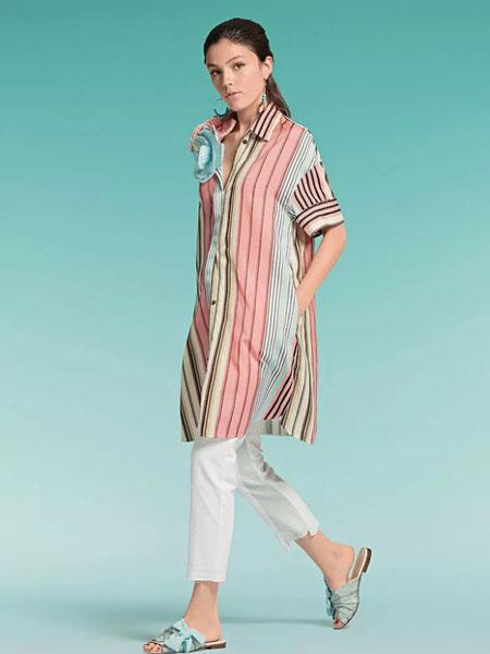 玛可凯恩 marc cain女装品牌2019春夏新款 竖条纹衬衫连衣裙