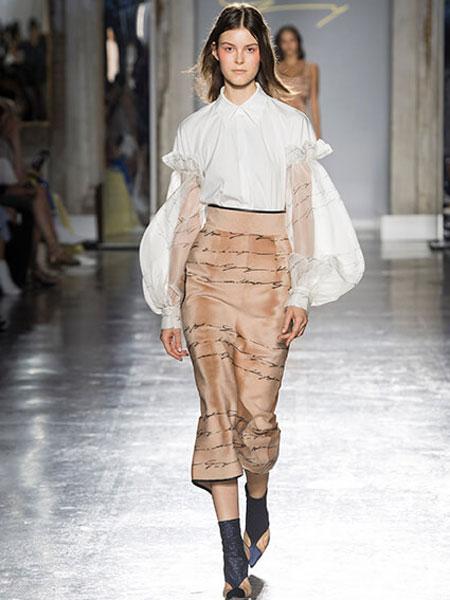 Genny女装品牌2019春夏新款韩版褶皱V领单排扣显瘦气质长袖衬衫套装裙