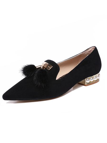 Fekkai菲凯鞋帽/领带品牌2019春夏新款通勤浅口粗跟淑女单鞋方头中跟简约女鞋子