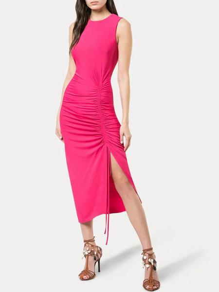 Altuzarra奥图扎拉女装品牌2019春夏新款时尚气质褶皱无袖修身S型连衣裙