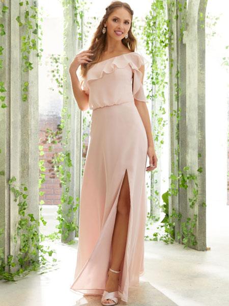 Mori Lee婚纱/礼服品牌2019春夏新款荷叶边包臀长款晚礼服