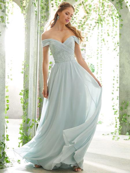 Mori Lee婚纱/礼服品牌2019春夏新款一字肩长款优雅伴娘服年宴会演出连衣裙