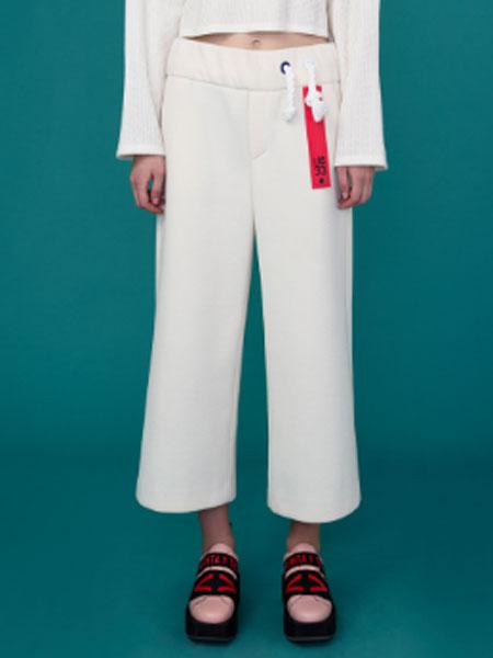 Cres.E Dim女装品牌2019春夏新款时尚高腰显瘦百搭七分直筒裤子薄款