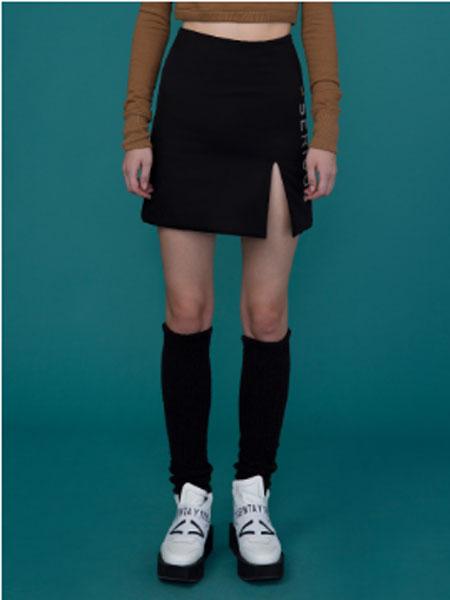 Cres.E Dim女装品牌2019春夏新款韩版包臀裙高腰半身裙开叉弹力一步裙黑色职业短裙
