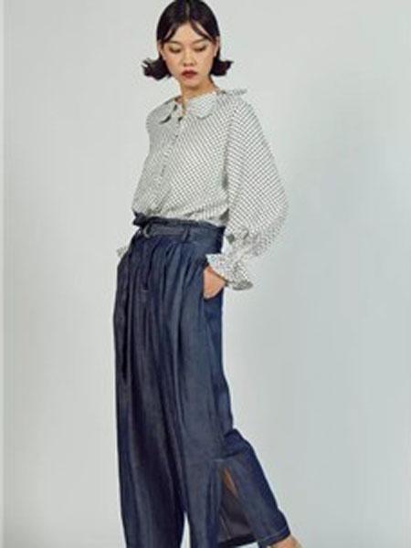 S-Echo女装品牌2019春夏新款高腰绑带休闲宽松牛仔裤