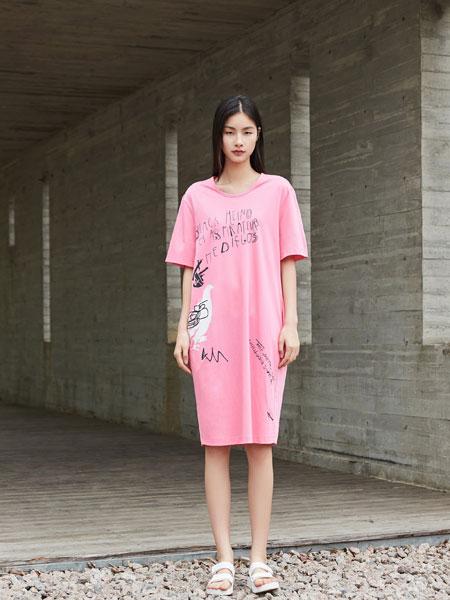 陌上女装品牌2019春夏新款韩版宽松大码中长裙连衣裙