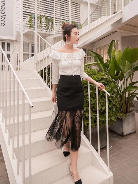 木丝语女装品牌2019春夏宽松纯色荷叶边系带衬衫小清新喇叭袖上衣