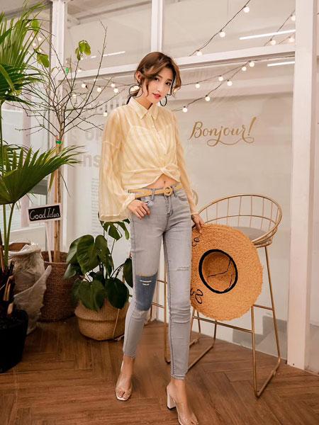 木丝语女装品牌2019春夏新款时尚设计感小众衬衣