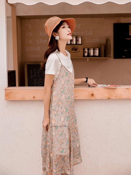 木丝语女装品牌2019春夏韩版连衣裙两件套短袖T恤碎花小清新雪纺裙
