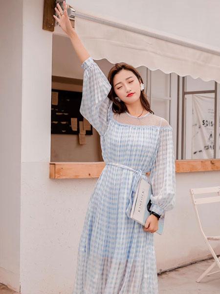 木丝语女装品牌2019春夏小清新甜美雪纺裙韩版收腰系带复古裙
